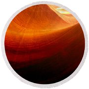 Round Beach Towel featuring the photograph Somewhere In America Series - Red Waves In Antelope Canyon by Lilia D