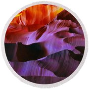 Round Beach Towel featuring the photograph Somewhere In America Series - Transition Of The Colors In Antelope Canyon by Lilia D