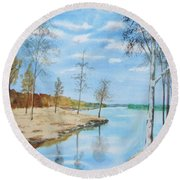 Round Beach Towel featuring the painting Somewhere In Dalarna by Martin Howard