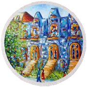 Somewhere In Montreal - Cityscape Round Beach Towel