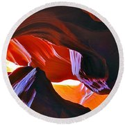 Round Beach Towel featuring the photograph Somewhere In Waves In Antelope Canyon by Lilia D