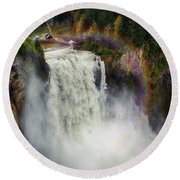 Somewhere Over The Falls Round Beach Towel by James Heckt