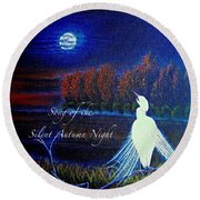 Song Of The Silent  Autumn Night In The Round With Text  Round Beach Towel