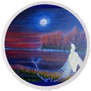 Song Of The Silent Autumn Night Round Beach Towel
