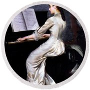 Song Without Words, Piano Player, 1880 Round Beach Towel