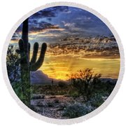 Sonoran Sunrise  Round Beach Towel by Saija  Lehtonen