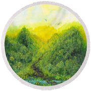 Round Beach Towel featuring the painting Sonsoshone by Holly Carmichael