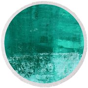 Soothing Sea - Abstract Painting Round Beach Towel by Linda Woods