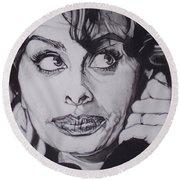 Sophia Loren Telephones Round Beach Towel