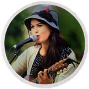 Round Beach Towel featuring the photograph Soul Sister by Wallaroo Images