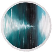 Round Beach Towel featuring the painting Hear The Sound by Michelle Joseph-Long