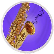 Sounds Of The Sax In Purple Round Beach Towel by Gill Billington