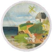South American Landscape Round Beach Towel