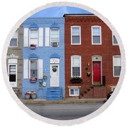 Round Beach Towel featuring the photograph South Baltimore Row Homes by Brian Wallace