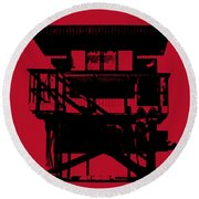 Round Beach Towel featuring the digital art South Beach Lifeguard Stand by Jean luc Comperat