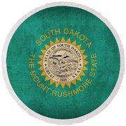 South Dakota State Flag Art On Worn Canvas Round Beach Towel by Design Turnpike