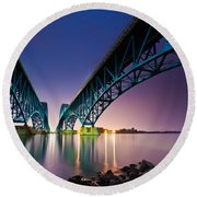 South Grand Island Bridge Round Beach Towel by Mihai Andritoiu