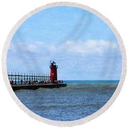 South Haven Channel Round Beach Towel