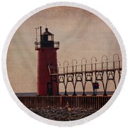 South Haven Lighthouse At Dusk Round Beach Towel