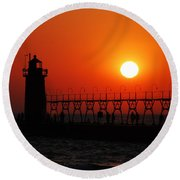 South Haven Lighthouse At Sunset 2 Round Beach Towel