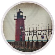 South Haven Lighthouse Cropped Round Beach Towel