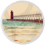 South Haven Lighthouse Round Beach Towel