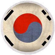 South Korea Flag Vintage Distressed Finish Round Beach Towel