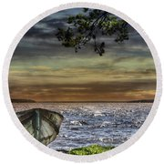 South Manistique Lake With Rowboat Round Beach Towel