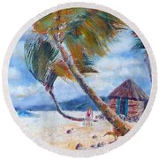 South Pacific Hut Round Beach Towel