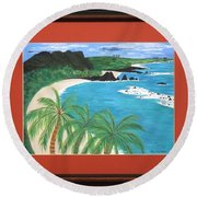 Round Beach Towel featuring the painting South Pacific by Ron Davidson