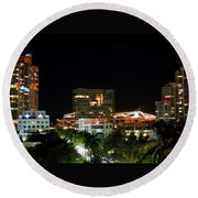 Round Beach Towel featuring the photograph South Pointe Miami by J Anthony