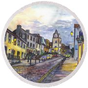 Nightfall At South Queensferry Edinburgh Scotland At Dusk Round Beach Towel by Carol Wisniewski