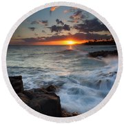 South Shore Waves Round Beach Towel