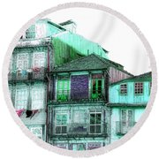 South Side Of Town-featured In Old Buildings And Ruins Group Round Beach Towel