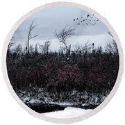 South To The Moon Round Beach Towel