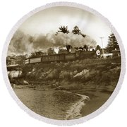 Southern Pacific Del Monte Passenger Train Pacific Grove Circa 1954 Round Beach Towel by California Views Mr Pat Hathaway Archives