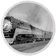 Southern Pacific Train In Texas Round Beach Towel