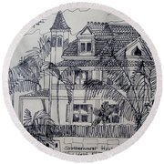 Round Beach Towel featuring the mixed media Southernmost House  Key West Florida by Diane Pape