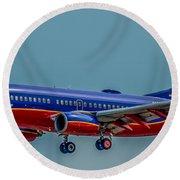 Southwest 737 Landing Round Beach Towel by Paul Freidlund