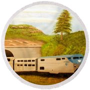 Southwest Chief At Raton Pass Round Beach Towel