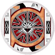 Southwest Collection - Design Six In Red Round Beach Towel
