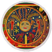 Southwest Huichol Del Sol Round Beach Towel by Vagabond Folk Art - Virginia Vivier