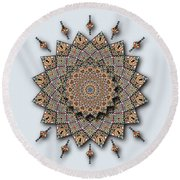 Round Beach Towel featuring the digital art Southwest Pottery Art Mandala by Deborah Smith