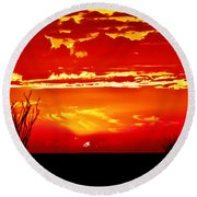 Southwest Sunset Round Beach Towel by Robert Bales