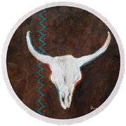 Round Beach Towel featuring the painting Southwestern Influence by Judith Rhue