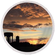 Water Towers On Southwold Common Round Beach Towel