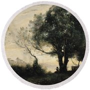 Souvenir Of Castel Gandolfo Oil On Canvas Round Beach Towel