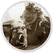 S P Baldwin Locomotive 2285  Class T-26 Ten Wheel Steam Locomotive At Pacific Grove California 1910 Round Beach Towel