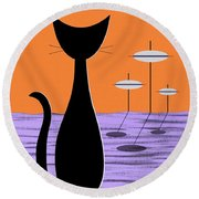 Space Cat Orange Sky Round Beach Towel