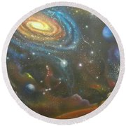 Space Dolphins Round Beach Towel